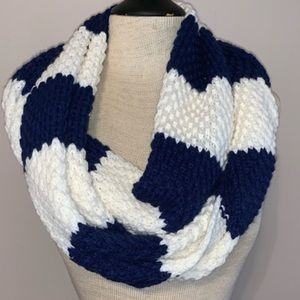 blue and white striped scarf